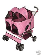 BestPet Pink Heavy Duty Twin Double Pet Stroller