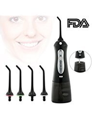 Fxexblin Cordless Water Flosser Professional Oral Irrigator with 3 Modes IPX7 Waterproof 200ML Removal Water Tank 4 Nozzles Oral Dental Flosser (black) (Black1)