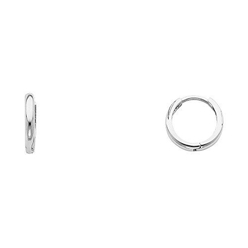 14k White Gold 1.5mm Thickness Huggie Earrings (8 x 8 mm) - White Gold Huggie Earrings