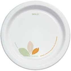 "SOLO Cup Company SCC OFMP9J7234 OFMP9-J7234 Bare Paper Eco-Forward Dinnerware, 8-1/2"" Diameter, 0.7"" Depth, 8-1/2"" Width, 8-1/2"" Length, Paper, Green/Tan (Pack of 250)"