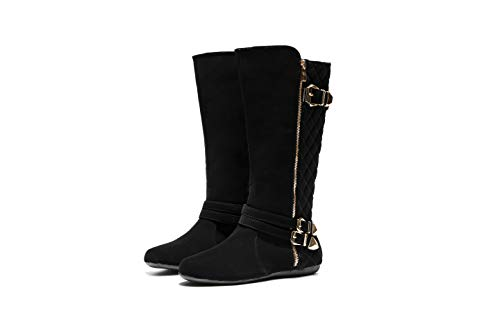 Mila Lady Hansel Zipper and Double Buckle Thigh High Riding Boots, Women Winter Tall Shoes, Lydia Black Nubuck 9 ()