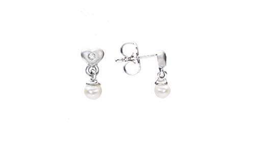 NATALIA DRAKE Diamond Accent Pearl and Puff Heart Stud Earring in Gold Plated Sterling Silver