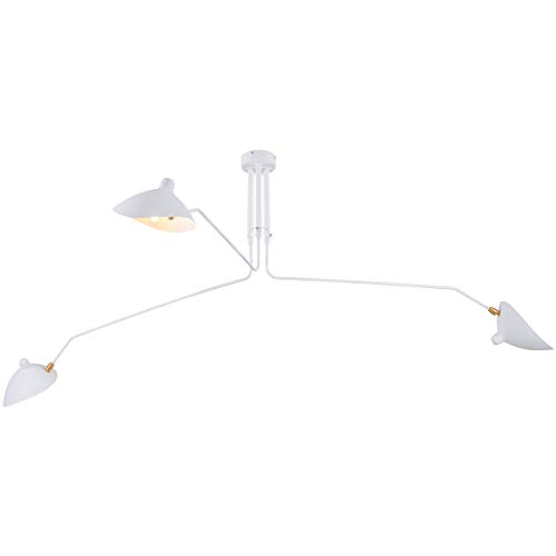 - Mzithern Mid-Century Modern Ceiling Lamp, 3-Arms Large Chandeliers with Adjustable Lamp Head for Living Room Bedroom Dinning Room Cafe, White