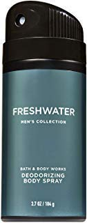 Bath and Body Works Mens Collection FRESHWATER Deodorizing Body Spray 3.7 Ounce