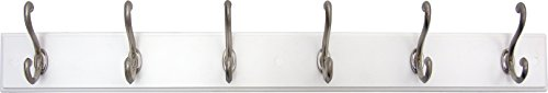 - Headbourne 93785 Hook Rail/Coat Rack with 6 Satin Nickel Hooks, White Board
