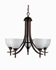 Whitfield Lighting ESCH89-5ORB Michael Twenty Six-Inch Energy Star Five-Light Chandelier, Oil Rubbed Bronze with Dove White Glass, Oil Rubbed Bronze Finish with Dove White Glass