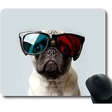 Knseva Cool Pug Dog Gaming Mouse Pad Non-Slip Rectangle Mouse Mat in 220mm180mm3mm (9' 7')