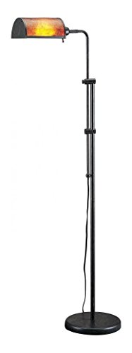 Rust 60 Watt 63in. Traditional / Classic Metal Pharmacy Floor Lamp with Adjustable Pole, On/Off Switch and Rectangular Mica (Mica Classic Floor Lamp)