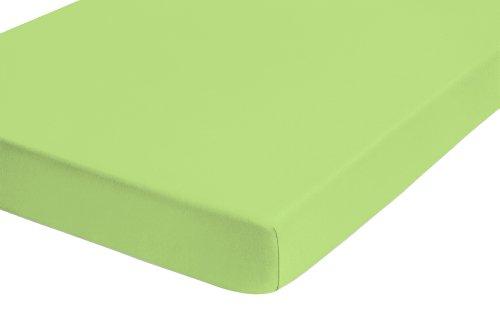 Biberna 77144/477/041 Jersey-Stretch Spannbetttuch (nach Öko-Tex Standard 100, ca. 140 x 200 cm bis 160 x 200 cm) hellgrün