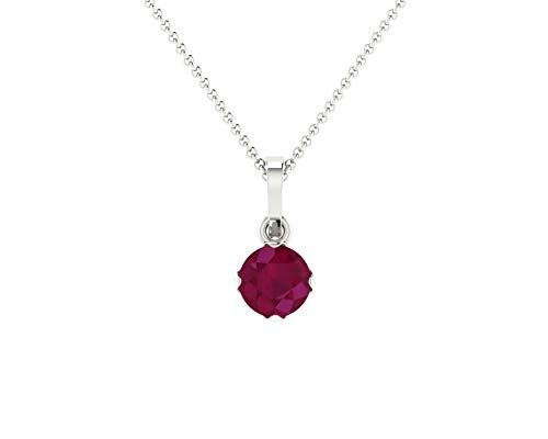 Euforia Jewels 14K Fine Gold Natural Ruby 4.0 mm Round Cut AAA++ Quality Pendant For Women With Free 925 Sterling Silver Chain