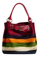 Designer Inspired Faux Fur Striped Hobo Purse (Red) (Faux Hobo Fur Bag)