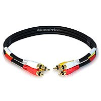 Triple RCA Dubbing Cable, RG59U, 1.5 ft. by GRAINGER APPROVED