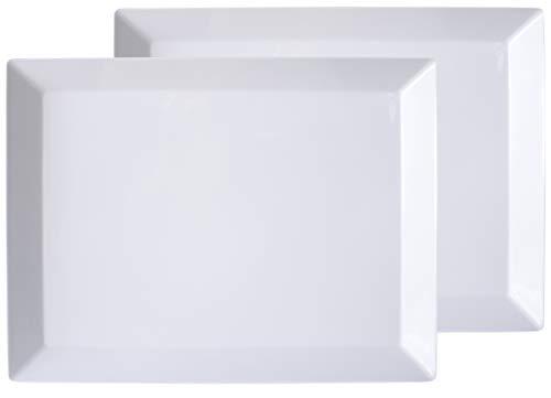 Virtual Elements Set of 2 Melamine Rectangular Serving Trays/Platters - White 18
