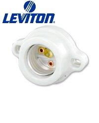 Leviton 9878 Keyless Lampholder Incandescent Medium Base Front Mount 2-Terminal Screws - White (Pkg of 5)
