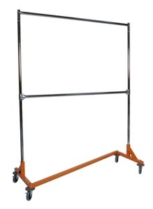 Deluxe Garment Rack (Deluxe Commercial Grade Rolling Z Rack Garment Rack with OSHA Safety Orange Nesting Base, 400lb Capacity, Double Bar and Adjustable Height Chrome Uprights)