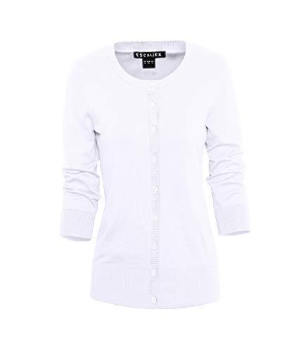 Escalier Women's Button Down Crewneck 3 4 Sleeve Soft Knit Cardigan Sweaters White