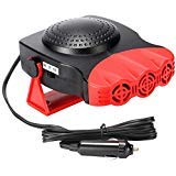 Portable Car Heater That Plugs into Cigarette Lighter 30 Seconds Fast Heating Quickly Defrosts Car Defogger 12V 150W Auto Ceramic Heater Cooling Fan 3 Outlet(Red)