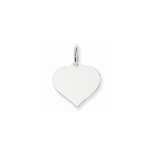 14K White Gold Heart Disc Charm Heart Disc 14k Gold Charm