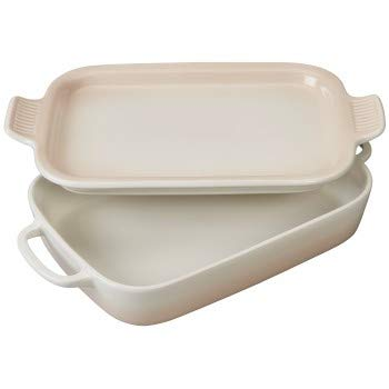 Rectangular Baking Platter - Le Creuset Meringue Stoneware Rectangular Baking Dish with Platter Lid