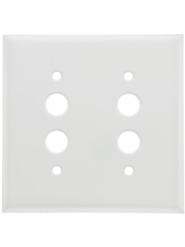 Classic Double Gang Push Button Switch Plate In White Enamel