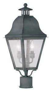 Livex Lighting 2552-61 Amwell 2-Light Outdoor Post Head, Charcoal