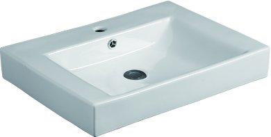Kdk Modern White Ceramic Basin Rectangular Square Vessel Sink Above