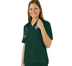 Women's Scrub Set - Medical Scrub Top and Pant, Dark Hunter Green, Medium