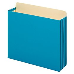 [Globe-Weis Heavy Duty File Cabinet Pockets, 3.5-Inch Expansion, Letter Size, Blue, 10-Count (FC1524E BLU)] (Expansion File Cabinet Pocket)