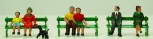 Model Power 5725 Sitting Figures w/Bench (6) HO (Model Figures People Power Ho)