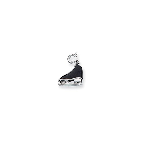 Teenage Tinkerbell Costume (925 Sterling Silver Black Enameled Ice Skate Pendant Charm Necklace Sport Skating Fine Jewelry Gifts For Women For)