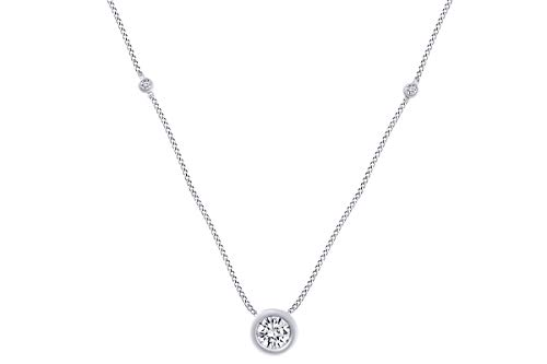 0.27 Cttw Round Shape White Natural Diamond Three Station Pendant Necklace In 14k White Gold ()
