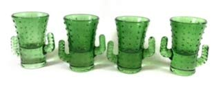 - Two's Company Set Of 4 Cactus Shot Glasses - Cute Cacti Arms Make Them Easy to Hold