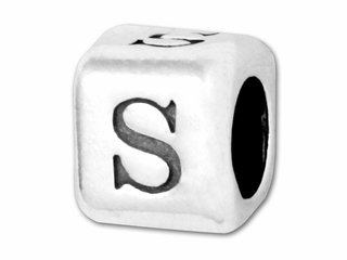 Sterling Silver Alphabet Rounded Edge Bead Letter
