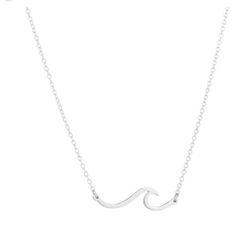 - Simple Ocean Wave Pendant Necklace Surfing Sea Surfing Hawaii Circle for Women Hawaiian Beach Lover Jewelry (Silver Wave)