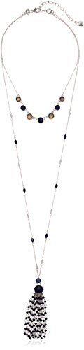 - Chaps Women's Blue Multi 2 in 1 Long Removable Tassle and Collar Strand Necklace