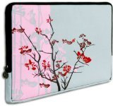 Pink Sparse Floral Flowers Carrying Case Sleeve fit Apple MacBook 13 inch and 13 - 14 inch Notebook Laptop Computer