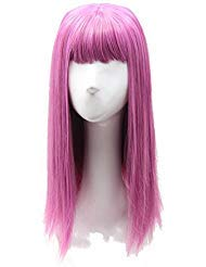 Soul Wigs: Mal Descendants Inspired Halloween Long Straight Pink Hair Cosplay Anime Costume Wig for Girls