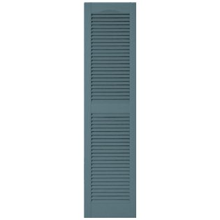 15 in. x 80 in. Louvered Shutters Pair #004 Wedgewood Blue by Builders Edge