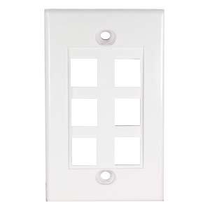 GOWOS 6Port Keystone Wallplate White Decora Type