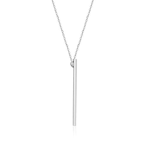VogueWe 925 Sterling Silver Minimalist Vertical Bar Necklace for Women, Plain 3D Bar Pendant Necklace, 22'' Adjustable Chain (Long Bar)