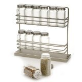 "Freestanding Spice Rack with Spice Jars (Brushed Steel) (12 1/2""W x 3 1/2""D x 12""H)"