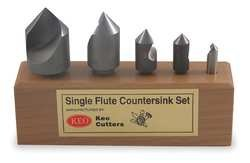 Countersink Set, 5 PC, 1 FL, 60 Deg, HSS by KEO