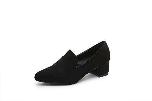 Yukun zapatos de tacón alto Zapatos De Mujer Mediados De Femeninos con Zapatos De Solteros De Mujer Zapatos De Otoño Gruesos con Mujeres De Punta Damas Black