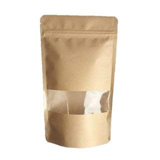 für 70g Papierbeutel 100stk Standbodenbeutel Doypack Kraftpapier Braun 110x185