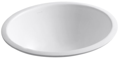 Kohler 2205-G-0 Ceramic undermount Oval Bathroom Sink, 20.88 x 17.88 x 9 inches, White ()