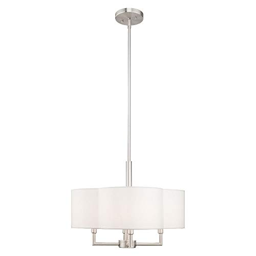Livex Lighting 51924-91 Chelsea - Four Light Chandelier, Brushed Nickel Finish with Off-White Fabric Shade ()