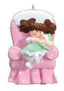 2306 Big Sister Chair with Brown Hair Hand Personalized Christmas (Big Sister Personalized Ornament)