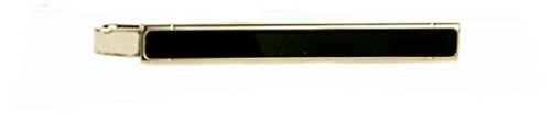 Gold Onyx Slide (Classic yellow gold plated and onyx tie slide with presentation box)