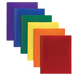 Office Depot(R) Brand Poly 2-Pocket Portfolio With Fasteners, Assorted Colors (Portfolio Poly Twin Pocket)
