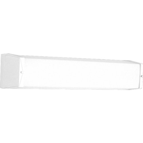(Progress Lighting P7128-30EB Utility Bath Bracket with Ribbed Acrylic Diffuser and Knockout For G.C.O, White)